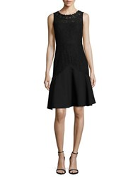 Karl Lagerfeld Lace Trimmed Fit And Flare Dress Black