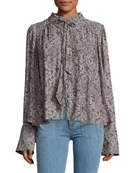 Free People Printed Chiffon Blouse Grey