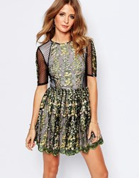 Millie Mackintosh Embroidered Mini Dress With Sheer Details Black