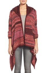 Curio Space Dyed Hooded Cardigan Red