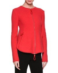 Giorgio Armani Flounce Back Knit Zip Front Jacket Red