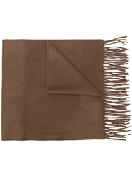Begg And Co Classic Fringed Cashmere Scarf Brown
