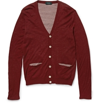 Incotex Double Layer Wool And Cotton Blend Cardigan Burgundy