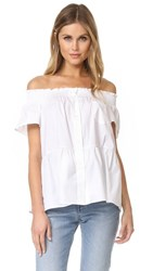 Red Valentino Poplin Off The Shoulder Blouse White