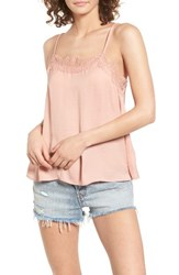 Sun And Shadow Women's Lace Trim Camisole Pink Fawn