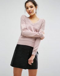 Asos Jumper In Pointelle Stitch With V Neck Nude Pink