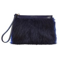 Karen Millen Faux Fur Pochette Clutch Bag Blue