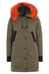 Kenzo Down Parka With Fur Trimmed Hood Green