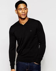 Armani Jeans Jumper With V Neck And Logo Black