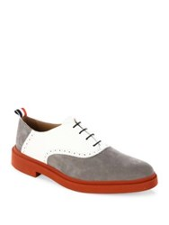 Thom Browne Multicolor Nubuck And Leather Oxfords Grey