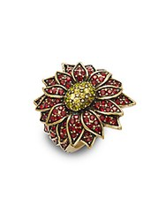 Heidi Daus Swarovski Crystal Goldtone Floral Ring Red