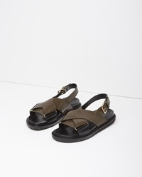 Marni Criss Cross Leather Fussbett Sandal Dark Olive