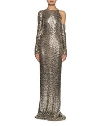Tom Ford Long Sleeve Square Embroidered Gown Gray