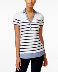 Tommy Hilfiger Striped Polo Top White Combo