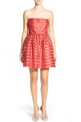 Frenchi Stripe Strapless Party Dress Red