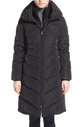 Women's Jessica Simpson Knit Trim Down And Feather Fill Coat Black