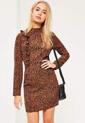 Missguided Brown Frill Detail High Neck Bodycon Print Dress