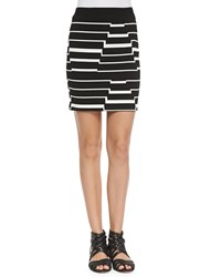 Band Of Outsiders Striped Pyramid Steps Mini Skirt Black