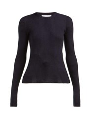 Gabriela Hearst Browning Ribbed Cashmere Blend Sweater Navy
