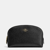 Coach Cosmetic Case 17 In Crossgrain Leather Li Black