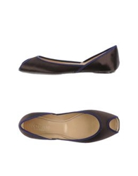 Hogan Peep Toe Ballet Flats Dark Brown