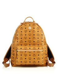 Mcm Stark Coated Canvas Monogram Backpack White Cognac Black