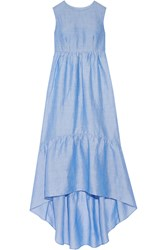 Co Tiered Ramie Blend Maxi Dress Light Blue