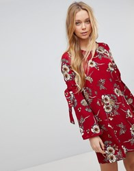 Girls On Film Floral Dress With Flare Tie Sleeve Burgundy Base Print Red