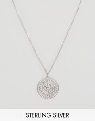 Carrie Elizabeth Sterling Silver Large Aztec Disc Pendant Silver