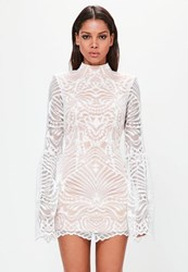 Missguided White Lace Flared Sleeve Bodycon Mini Dress