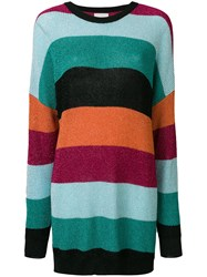 Laneus Striped Sweater Dress Multicolour