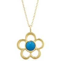 Ewa 9Ct Gold Birthstone Blossom Pendant Necklace Turquoise December