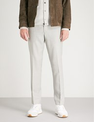 Oscar Jacobson Diego Slim Fit Tapered Wool Trousers Grey