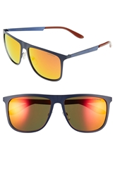 Carrera 58Mm Mirrored Retro Sunglasses Blue Matte Blue Red Mirror