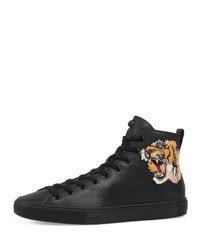 Gucci Major High Top Sneaker W Tiger Patch Black