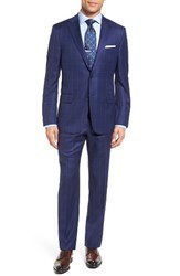 Hickey Freeman Men's Big And Tall Classic Fit Windowpane Wool Suit Blue