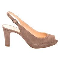 Unisa Nick Peep Toe Block Heeled Sandals Taupe