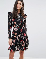 Liquorish Floral A Line Dress With Frill Details Multi