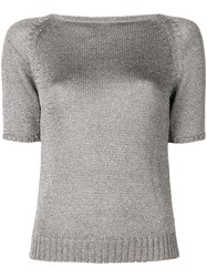 Charlott Fitted Silhouette Knitted Top Grey