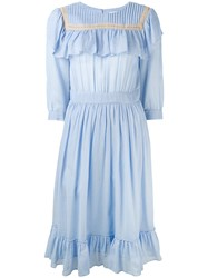 Masscob Ruffled Bib Dress Blue