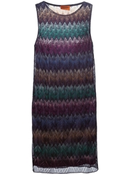 Missoni Zig Zag Crochet Layered Dress Blue