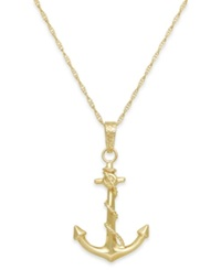 Macy's Men's Anchor Pendant Necklace In 10K Gold