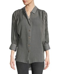 Halston Ruched Button Up Long Sleeve Top Black Pattern