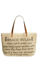 Straw Studios 'Conversation' Straw Tote Brown Beach Rules