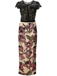 Marchesa Notte Lace And Sequin Floral Dress Nylon Polyester Black