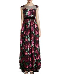 Badgley Mischka Sequined Floral Gown W Mesh Yoke Berry