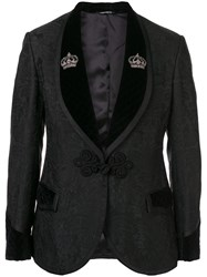 Dolce And Gabbana Floral Jacquard One Button Suit Black