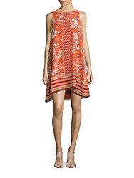 Max Studio Printed Bateau Neck Trapeze Dress Orange