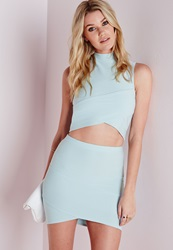 Missguided Bandage Asymmetric Hem Mini Skirt Blue Blue