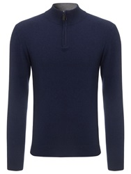 John Lewis Made In Italy Cashmere Zip Neck Jumper Navy